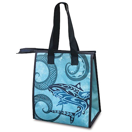 Small Insulated Tote, Tribal Shark - Quilted