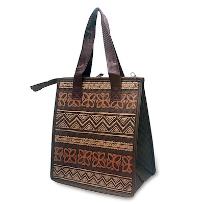 Small Insulated Tote, Tapa Brown - Quilted