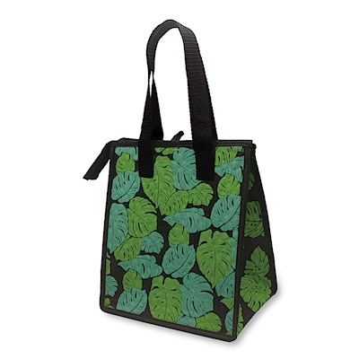 Small Insulated Tote, Monstera Black - Quilted