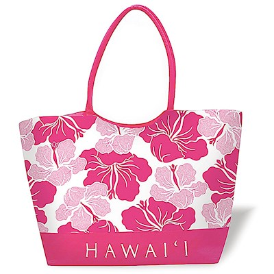 Large Beach Tote Modern Hibiscus Pink Hawaii