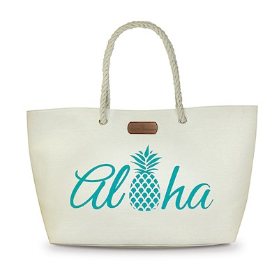 Rope Handle Beach Tote, Aloha Pineapple-Blue