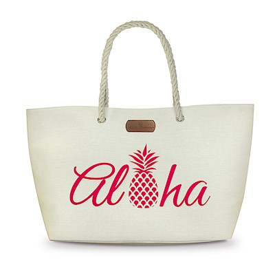 Rope Handle Beach Tote, Aloha Pineapple-Pink