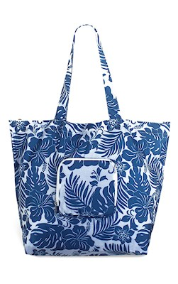 Deluxe Foldable Tote, Hibiscus Floral Blue