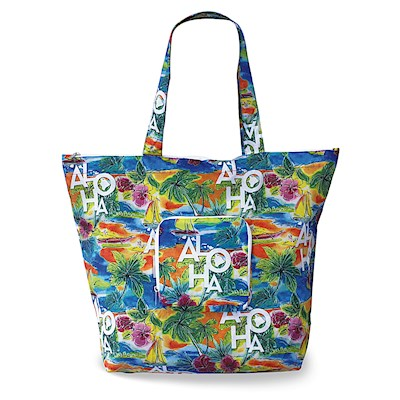 Deluxe Foldable Tote, Tropical Aloha