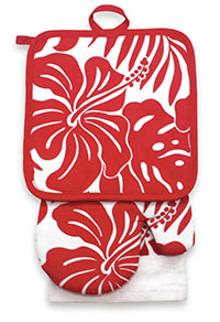 Kitchen Set, Hibiscus Floral - Red