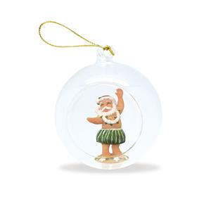 Glass Globe Ornament, Hula Santa