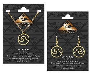 EARRING & NECKLACE SET, WAVE OCTOPUS GOLD