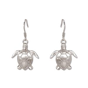 Charm Earrings 1-pr, Honu - Silver