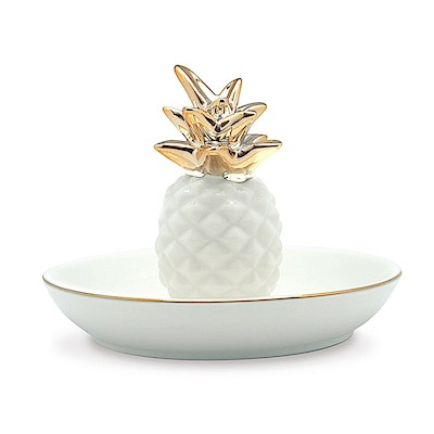 Porcelain Pearl White Pineapple Ceramic Trinket Dish