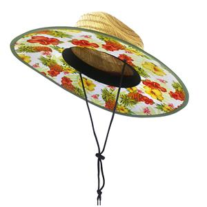 Tropical Pineapple Fabric-Lined Straw Hat