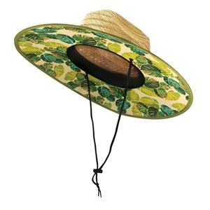 Monstera - Yellow Fabric-Lined Straw Hat