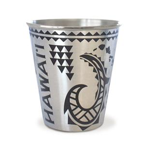 Tribal Hook Black Stainless Steel Foil Shot Glass