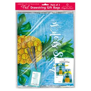 Foil Drawstring Gift Bags LG 3-pk, Life Is Sweet