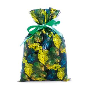 Foil Drawstring Gift Bags LG 3-pk, Monstera Black