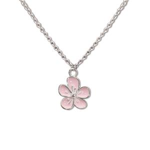 Charm Necklace, Flower - Silver