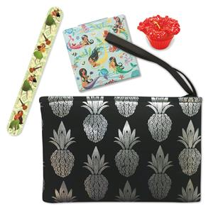 Black Metallic Pineapple Clutch with Beauty Set