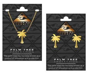 EARRING & NECKLACE SET, CHARM PALM TREE GOLD