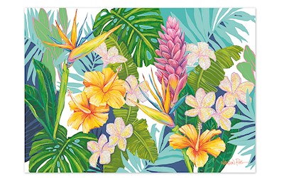 Island Blossom Blank Greeting Card by Lauren Roth