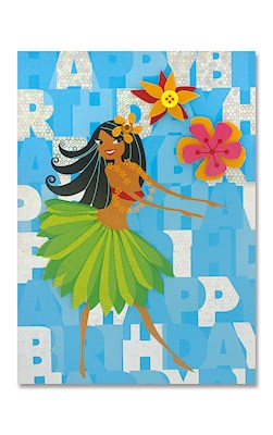 Designer Art Greeting Card, Hula Cheer
