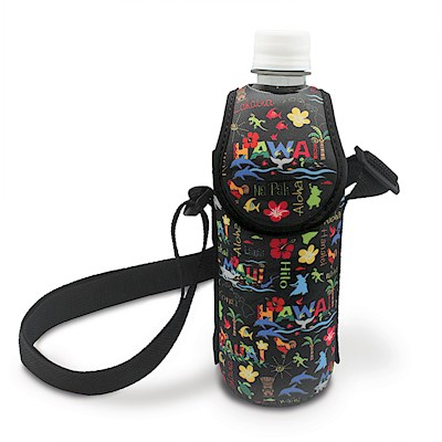 Bottle Cooler with Strap - Hawaiian Adventure Black