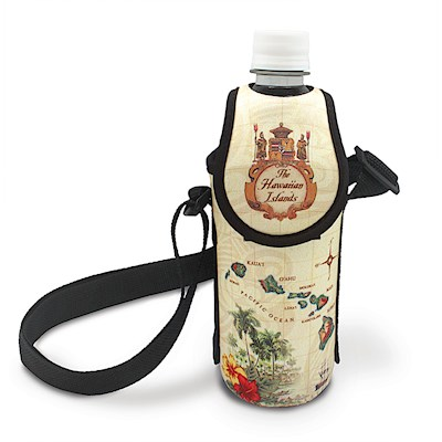 Bottle Cooler with Strap - Island of Hawaii - Tan