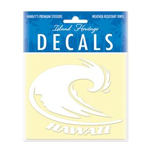 Decal Small Oblong, Hawaii Wave White