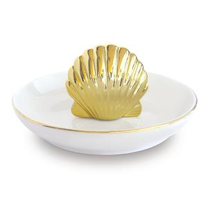 Porcelain Gold Shell Trinket Dish