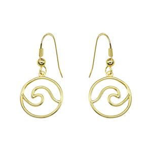 Charm Earrings 1-pr, Wave - Gold