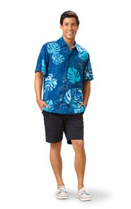 Monstera Waves II - Blueberry Kai Mens Classic Shirt (Small)