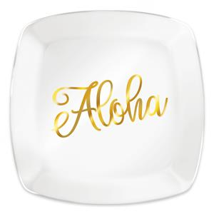 Glass Dessert Plate, Golden Aloha