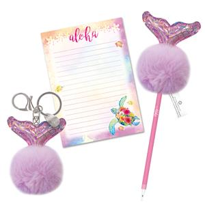 Mermaid Tail - Aloha Island Pom-Pom Keychain & Stationery Set
