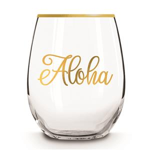Stemless Wine Glass, Golden Aloha