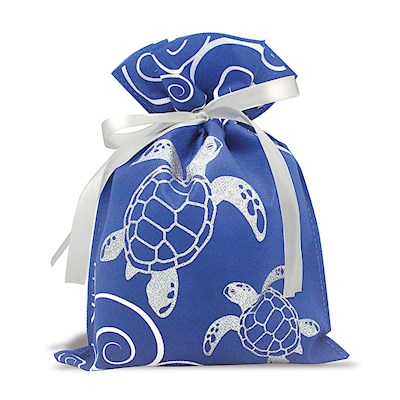 DRAWSTRING GIFT BAG: Honu Waves – Small