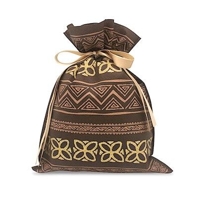 DRAWSTRING GIFT BAG: Tapa Brown – Small