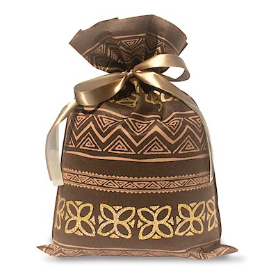 DRAWSTRING GIFT BAG: Tapa Brown – Large