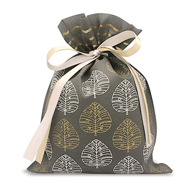 DRAWSTRING GIFT BAG: Modern Monstera – Small
