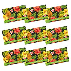 2021 Pocket Calendar, Tropical Pineapple - Black (Case of 24)