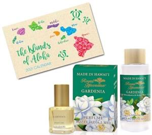 Gardenia Royal Hawaiian Perfume, Lotion & Pocket Calendar Set