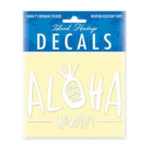 Decal Small Oblong, Sweet Aloha White