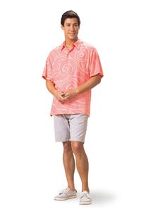 Ocean Waves Coral/Pink Kai Mens Classic Shirt (Medium)