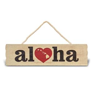 Wooden Hanging Sign Heart of Hawaii - Aloha