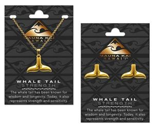 EARRING & NECKLACE SET, CHARM WHALE TAIL GOLD