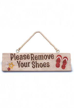 Wooden Hanging Sign Please Remove Your Shoes