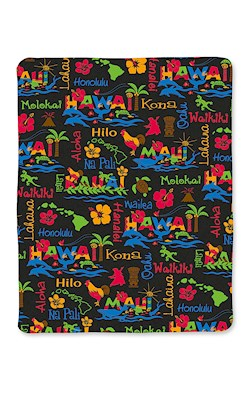 Travel Blanket, Hawaiian Adventures Black
