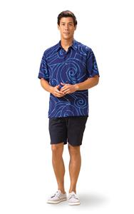 Ocean Waves Navy/Periwinkle Kai Mens Classic Shirt (Small)