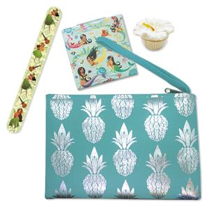 Turquoise Metallic Pineapple Clutch with Beauty Set