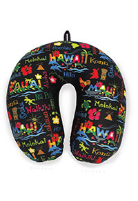Microfiber Neck Pillow - Hawaiian Adventures (Black)