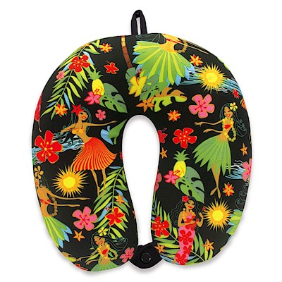 Microfiber Neck Pillow - Island Hula Honeys (Black)