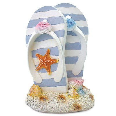 Coastal Polyresin Figurine, Large Slippers - Light Blue