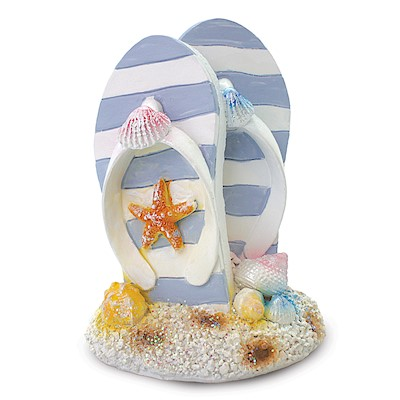 Coastal Polyresin Figurine, Small Slippers - Light Blue